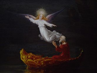 The Voyage of Life - Detail of Thomas Cole's The Voyage of Life: Old Age: The man in the boat with the angel.