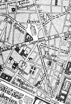 Avenue de l'Opéra - 1869 map with projected route