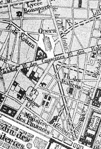 Avenue de l'Opéra - 1869 map with projected route