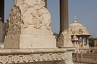 Detail of carved marble column base - Maharani Ki Chhatri, Jaipur (4609882817).jpg