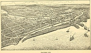 Traverse City, Michigan - 1883 Map of Traverse City