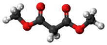 Ball-and-stick model of the dimethyl malonate molecule
