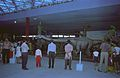 Diplodocus with Visitors - Dinosaurs Alive Exhibition - Science City - Calcutta 1995-June-July 488.JPG