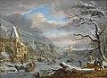 Dirck Dalens III - Een winterlandschap met figuren schaatsen op een bevroren rivier.jpg