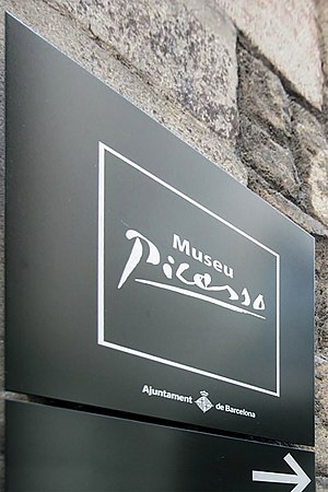 Museu Picasso - Directional sign of Museu Picasso