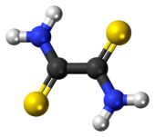 Ball-and-stick model of the dithiooxamide molecule