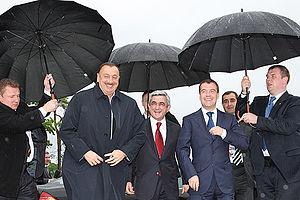 St. Petersburg International Economic Forum - Russian President Dmitry Medvedev with President of Azerbaijan Ilham Aliyev and President of Armenia Serzh Sargsyan, 4 June 2009