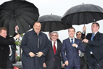 St. Petersburg International Economic Forum - Russian President Dmitry Medvedev with President of Azerbaijan Ilham Aliyev and President of Armenia Serzh Sargsyan, 4 June 2009