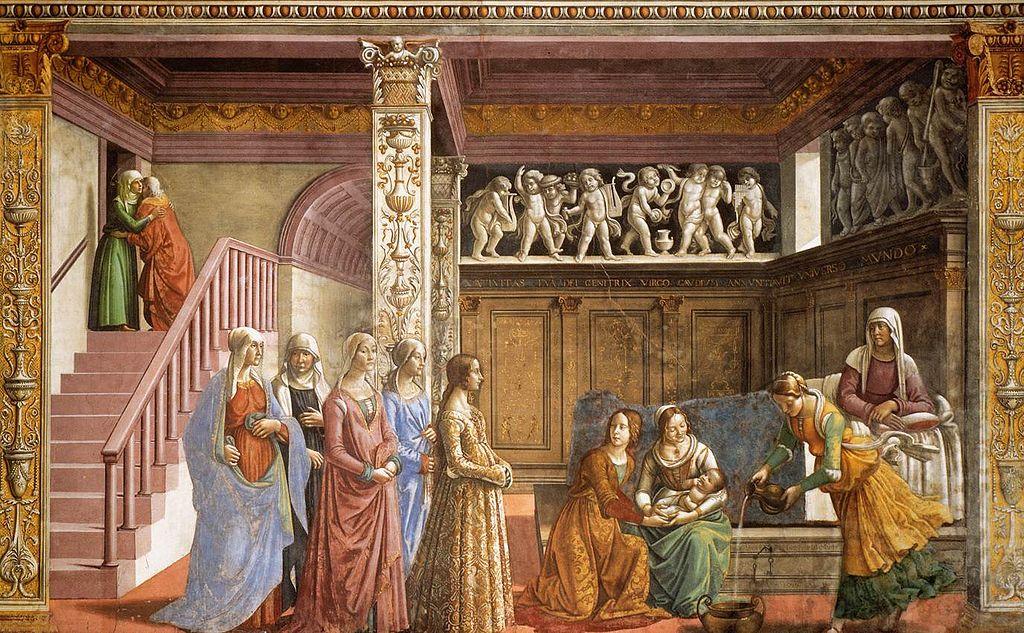 https://upload.wikimedia.org/wikipedia/commons/thumb/7/71/Domenico_Ghirlandaio_-_Birth_of_Mary_-_WGA8830.jpg/1024px-Domenico_Ghirlandaio_-_Birth_of_Mary_-_WGA8830.jpg