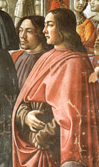 Domenico ghirlandaio, autoritratto (left) con sebastiano mainardi (right) cappella Tornabuoni, annuncio dell'angelo a zaccaria, detail.jpg