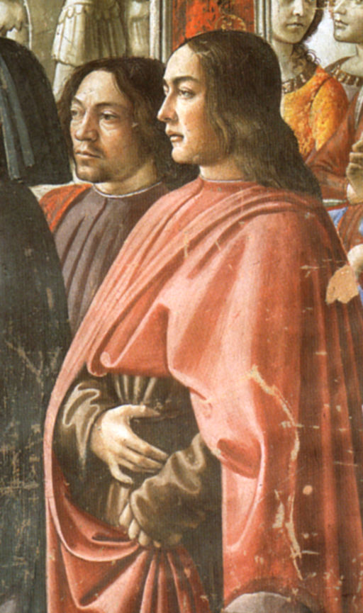Domenico ghirlandaio, autoritratto (left) con sebastiano mainardi (right) cappella Tornabuoni, annuncio dell'angelo a zaccaria, detail