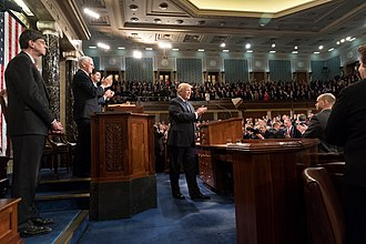 President Donald Trump delivers his 2018 State of the Union Address, with Vice President Mike Pence and Speaker of the House Paul Ryan Donald Trump State of the Union 2018 (26133528958).jpg