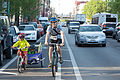 Double buffered bike lane family trailer chicago.jpg