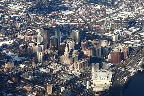 Downtown Hartford from the air Downtown Hartford from above, 2009-12-10.jpg