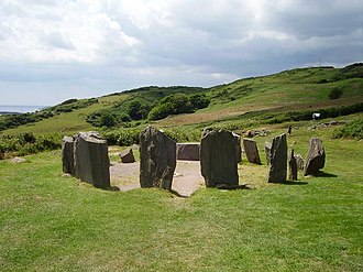Recumbent stone circle - Drombeg stone circle in Ireland, showing the small recumbent stone visible through the gap between the large portal stones opposite