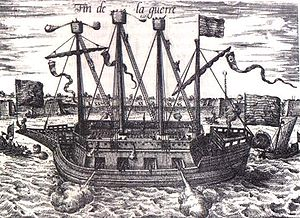 Dutch Ship Fin de la Guerre (Finis Bellis), Siege of Antwerp 1585.jpg