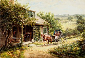 Edward Lamson Henry - Unexpected Visitors, a typical painting of rural nostalgia