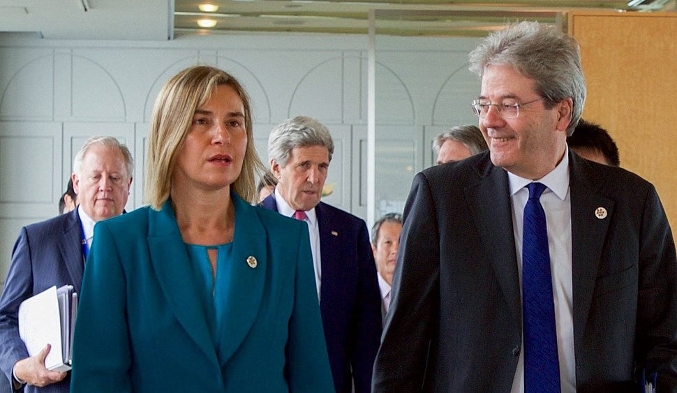 EU High Representative Mogherini Walks With Italian FM Gentioni Prior to First Working Session of G7 Ministerial Meeting cropped