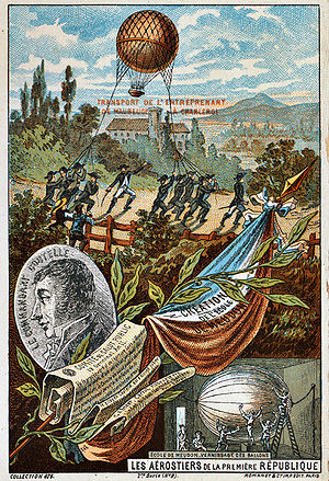 "Surveillance aircraft - The first surveillance balloon, ""l'Entreprenant"", 1794. Illustration from the late 19th Century."