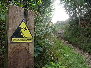 English: East Devon : Coast Path & Hazard Sign...