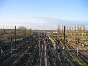 Tallington - East Coast Main Line looking north, with the former Dow-Mac works on the right