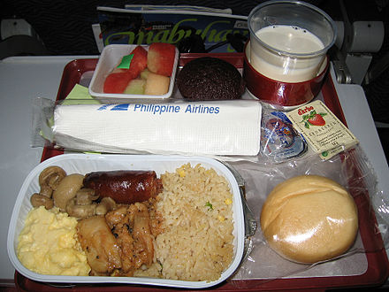 An example of an Economy Class in flight breakfast served for its Manila–Hong Kong flights. Economy breakfast onboard a PAL flight.jpg