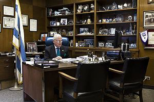 Edward M. Burke - Burke at his desk in his ward office.