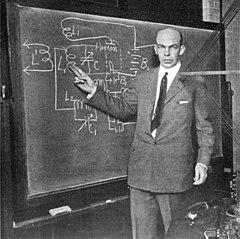 Edwin Armstrong at blackboard