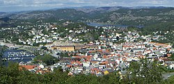 Panorama of Egersund town center
