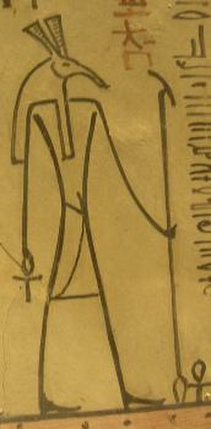 Was-sceptre - A was sceptre, carried by the god Set, in the tomb of Thutmose III