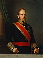 Painting shows a brown-haired man with long sideburns. He wears a dark blue, high-collared military uniform with a red and yellow sash across his chest. There are two awards pinned to his coat.