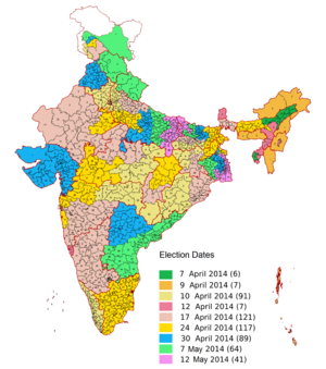 Election dates of Indian general election, 2014.png