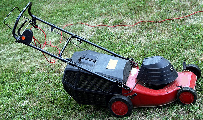 Use an electric or push mower - Stop emitting CO2 gases - Image courtesy of https://upload.wikimedia.org/wikipedia/commons/thumb/7/71/Electric_lawn_mower_IMG_5496.JPG/800px-Electric_lawn_mower_IMG_5496.JPG