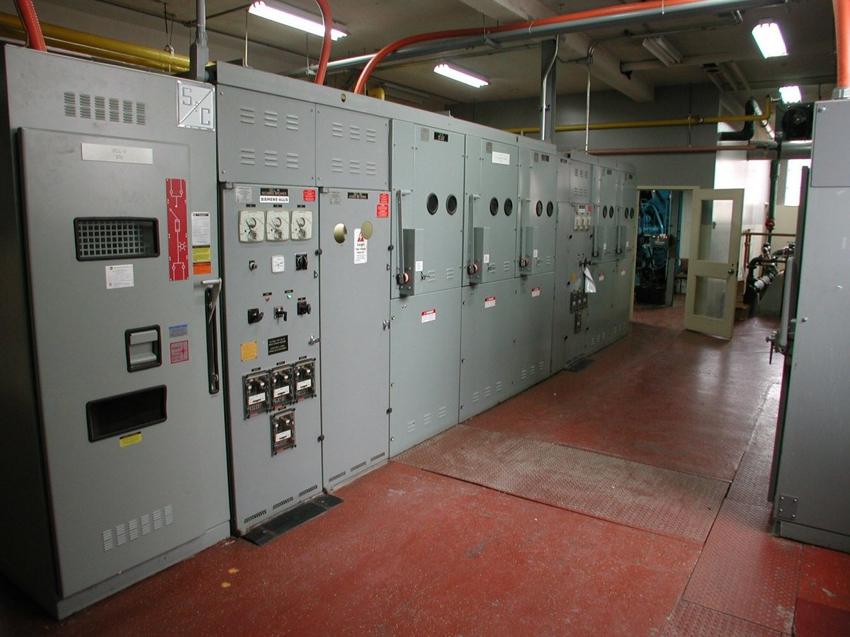 Electrical room on fire alarm control panel installation