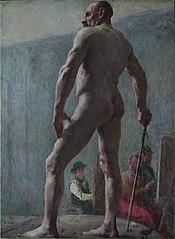 Nu masculino de costas com bastão