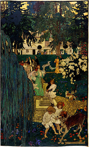 Jessie Willcox Smith - Elizabeth Shippen Green, Life was made for love and cheer, depicts the artist, Jessie Willcox Smith and Violet Oakley and other friends at the Red Rose Inn.