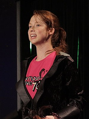 """Ellie Kemper - Kemper performing """"Feeling Sad/Mad with Ellie Kemper"""" at the Upright Citizens Brigade Theater in 2008"""