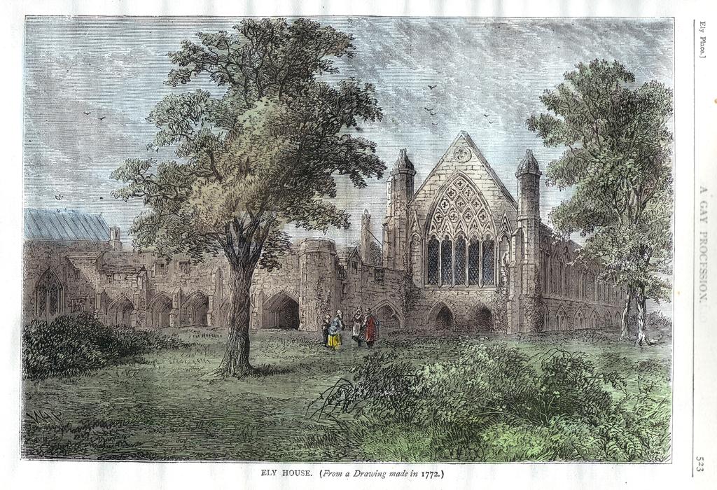 Ely House et l'église à côté du pub Ye Olde Mitre en 1772.