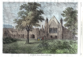 Ely Place - Ely House and St Ethedreda's chapel  in 1772, wood engraving of 1878 after an old drawing