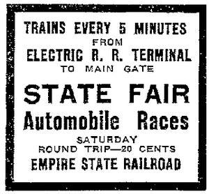 Empire State Railway - Electric Railroad Terminal - State Fair - Empire State Railroad - September 15, 1922