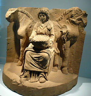 Epona - Epona and her horses, from Köngen, Germany, about 200 AD.