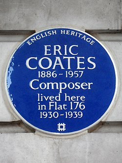 Photo of Eric Coates blue plaque