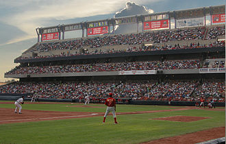 Game at the Estadio de Beisbol Monterrey. Baseball is most popular in the North (particularly Northwest) and Southeast of Mexico. Estadio de beisbol en Monterrey.jpg