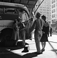 Esther Bubley, Soldiers with their girls in front of the Greyhound bus, Indianapolis, 1943.jpg