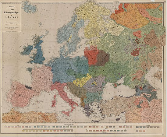 Ethnographic map of Europe - by lithuanians Sudare and J Gabrys - Lausanne - 1918 AD