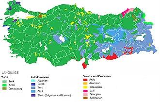 Demographics of Turkey - Ethnolinguistic map (estimates)