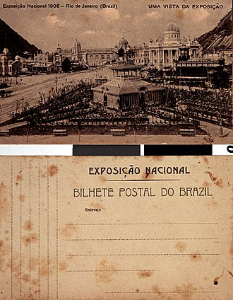 Exhibition of the centenary of the opening of the Ports of Brazil - Potcard showing the botanic garden in the foreground