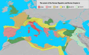Classical antiquity - The extent of the Roman Republic and Roman Empire in 218 BC (dark red), 133 BC (light red), 44 BC (orange), 14 AD (yellow), after 14 AD (green), and maximum extension under Trajan 117 (light green)