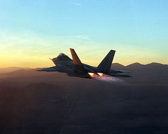 Lockheed Martin F-22 Raptor - F-22 flying with its F119-PW-100 engines on full afterburner during testing