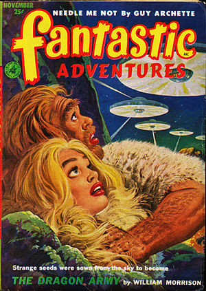 "Joseph Samachson - Samachson's novella ""The Dragon Army"", written under his ""William Morrison"" byline, was the cover story in the November 1952 issue of Fantastic Adventures"